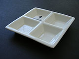 4-Compartment Ceramic Square Tray Palette